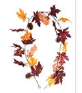 Blooming Autumn Leaves, Acorn & Pinecone Garland-Burgundy & Copper
