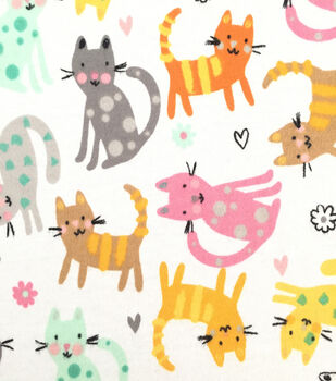 Doodles Juvenile Apparel Fabric -Tossed Kitties