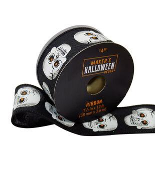 Maker's Halloween Decor Ribbon 1.5''x12'-Skeleton Heads on Black