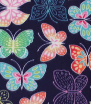 Blizzard Fleece Fabric-Vibrant Butterflies on Navy
