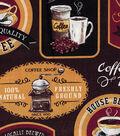 Novelty Cotton Fabric 43\u0022-Morning Coffee