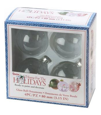 Heavy Glass Ornament Balls W/Gold Filigree 80mm 4/Pkg-Clear