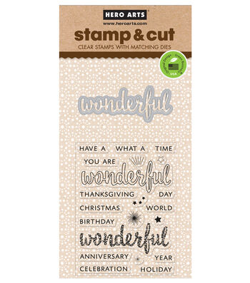 Hero Arts Stamp & Cut Clear Stamps with Die-Wonderful
