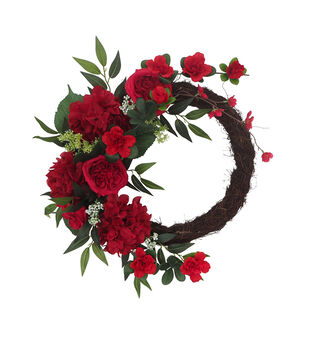 Fresh Picked Spring 24'' Red Rose & Greenery Wreath