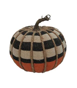 Maker's Halloween Small Burlap Pumpkin-Stripes