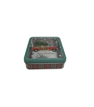 Handmade Holiday Christmas Small Square Cookie Tin with Clear Top-Truck