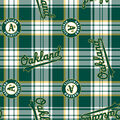 Oakland Athletics Fleece Fabric -Plaid