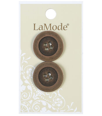LaMode 4 Hole Antique Gold Metal Buttons 22mm
