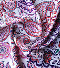 Stretch Chiffon Fabric 57\u0027\u0027-Pink Folk on White