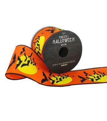Maker's Halloween Ribbon 2.5''x12'-Bats & Moons on Orange