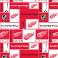 Detroit Red Wings Cotton Fabric -Block