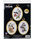Hummingbirds Embroidery Kit Set Of 3-3\u0022X4\u0022 Stitched In Floss