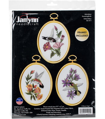 "Hummingbirds Embroidery Kit Set Of 3-3""X4"" Stitched In Floss"