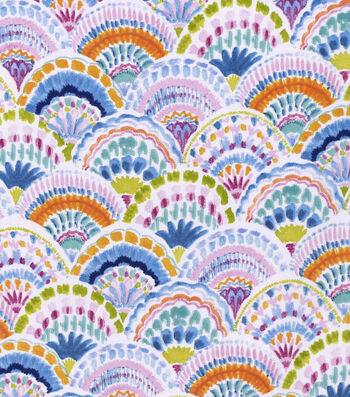 "Silky Print Rayon Fabric 53""-Bright Fans"