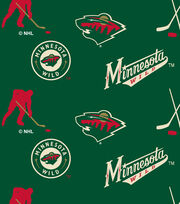 Minnesota Wild Fleece Fabric -Tossed, , hi-res