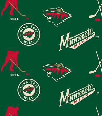 Minnesota Wild Fleece Fabric 60''-Tossed