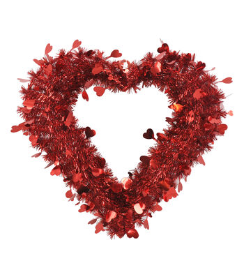 Valentine's Day Small Heart Tinsel Wreath