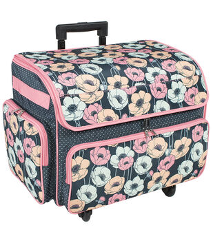73091c6add97 Extra Large 4 Wheel Rolling Sewing Case-Blue Floral