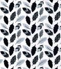 Nursery Flannel Fabric-Black & Gray Leaves