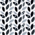 Nursery Flannel Fabric-Black & Gray Leaves