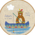 Vervaco Aida Counted Cross Stitch-Indian Bear in Canoe Birth Record