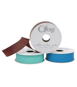 "Offray Glitter Grosgrain Ribbon 7/8"" x 9 Feet"