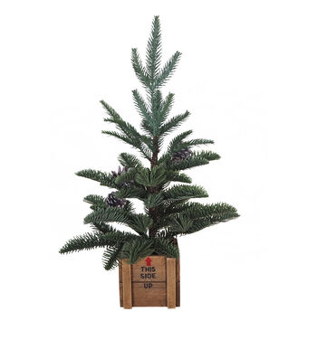 Blooming Holiday Christmas Medium Pine Tree in Wood Crate