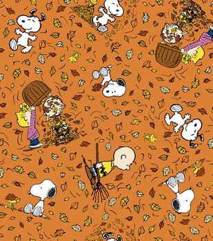 Harvest Cotton Fabric -Peanuts Falling Leaves