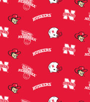 "University of Nebraska Cornhuskers Fleece Fabric 58""-Allover, , hi-res"