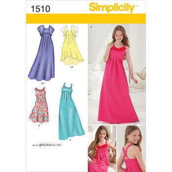 Simplicity Pattern 1510AA 8-10-12-14-Girl Girl Plus Dress