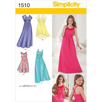 Simplicity Pattern 1510AA 8-10-12-14-Girl Girl Plus Dress