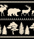 Anti-Pill Fleece Fabric 58\u0022-Black & White Wilderness Stripe