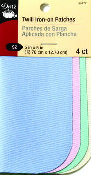 Dritz Twill Patches - 5 X 5 - Pastel Color Assorted 4 Ct