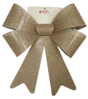 Handmade Holiday Christmas 15''x19'' Glitter Burlap Bow