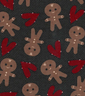 Snuggle Flannel Fabric-Gingerbread Men & Hearts