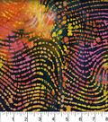 Legacy Studio Indian Batiks Cotton Fabric 44\u0022-Waving Lines Rainbow