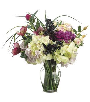 Helleborus, Anemone, Rose & Hydrangea in Glass Vase 16''