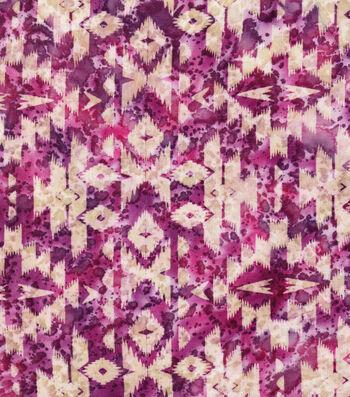 "Indian Batiks Cotton Fabric 44""-Multi Purple Geometrics"