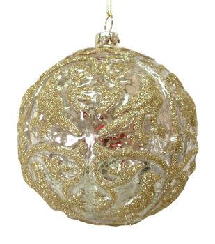 Handmade Holiday Crimson Traditions Glass Ball Ornament-Mercury