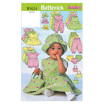 Butterick Pattern B5624 Infants' Casual Outfits-Size NB-S-M