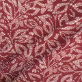Apparel Knit Fabric-Dotted Leaves on Burgundy