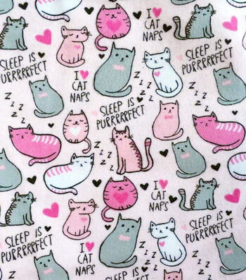 Snuggle Flannel Fabric -Fabric I Love Cat Naps