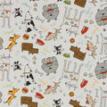 Novelty Cotton Fabric-Sketch Dogs Mixed on White