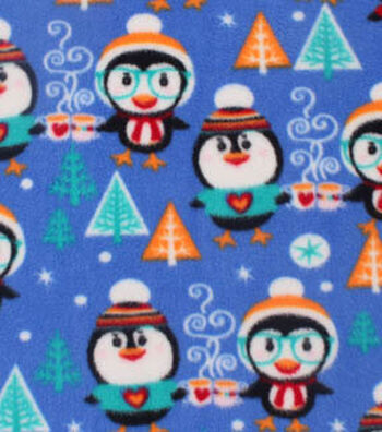 "Anti-Pill Fleece Fabric 59""-Cheers Penguins"