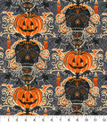 Halloween Cotton Fabric 44\u0022-Glitter Bewitched Skulls