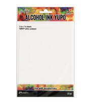 Tim Holtz 10 pk 5''x7'' Alcohol Ink Yupo Cardstocks-White, , hi-res