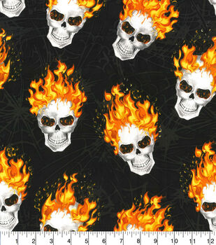 Halloween Cotton Fabric-Tossed Skulls On Fire