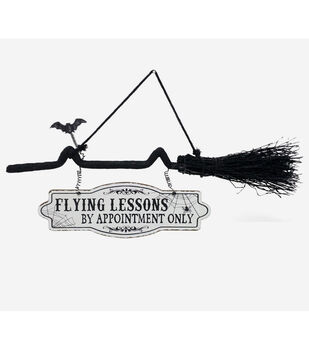 Maker's Halloween Broom Wall Decor-Flying Lessons by Appointment Only