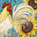 Gold Petite Rooster Counted Cross Stitch Kit-6\u0022X6\u0022 18 Count