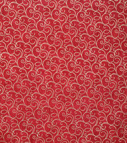 Keepsake Calico Cotton Fabric-Red Foil Swirls, , hi-res